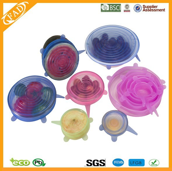 Amazon hot sell 4 pieces set Reusable silicone anti spill Stretch Lid