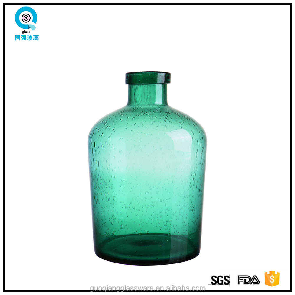 2016 latest design luxury colored long neck glass vase
