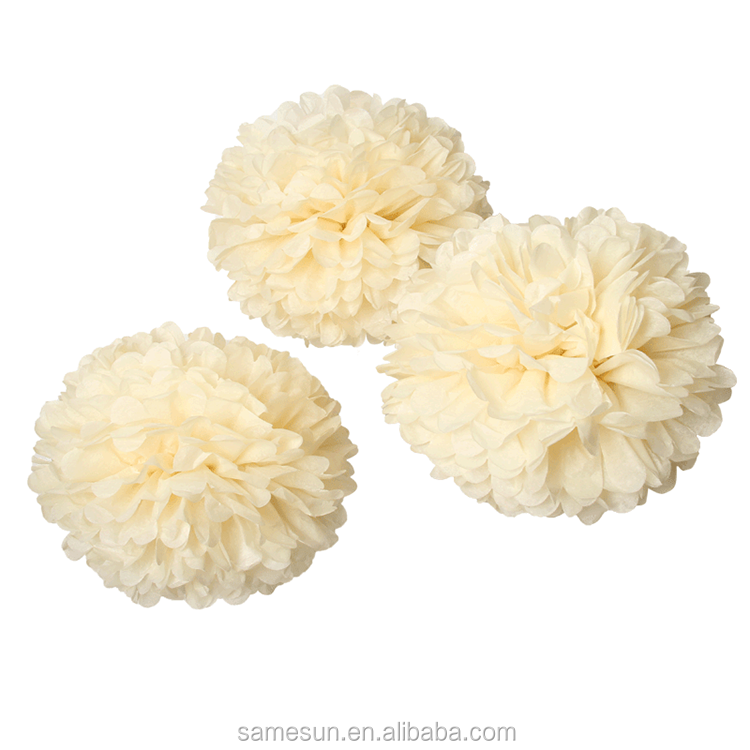 Beige Color Tissue Paper Flower Ball For Wedding Party