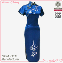 fashion mandarin collar plum embroidered high side slit cheongsam picture with blue color