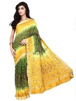 Kala Sanskruti Pure Silk Dark Green And Yellow Color Saree