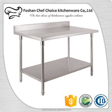 Industrial Kitchen Table Stainless Steel Work Table Reinforced Frame Commercial Stainless Steel Work Table For Sale Use OEM Size
