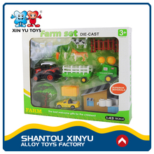 Kids game pulling set farm trucks 1:43 diecast model toy tractor with animals
