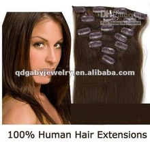 High quality silky straight Indian human white clip in hair extension