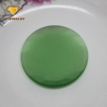 Wuzhou dengfeng gems hot sale green round cat eye gemstone