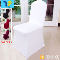 China wholesale 200gsm polyester universal white banquet hall wedding luxury spandex chair cover