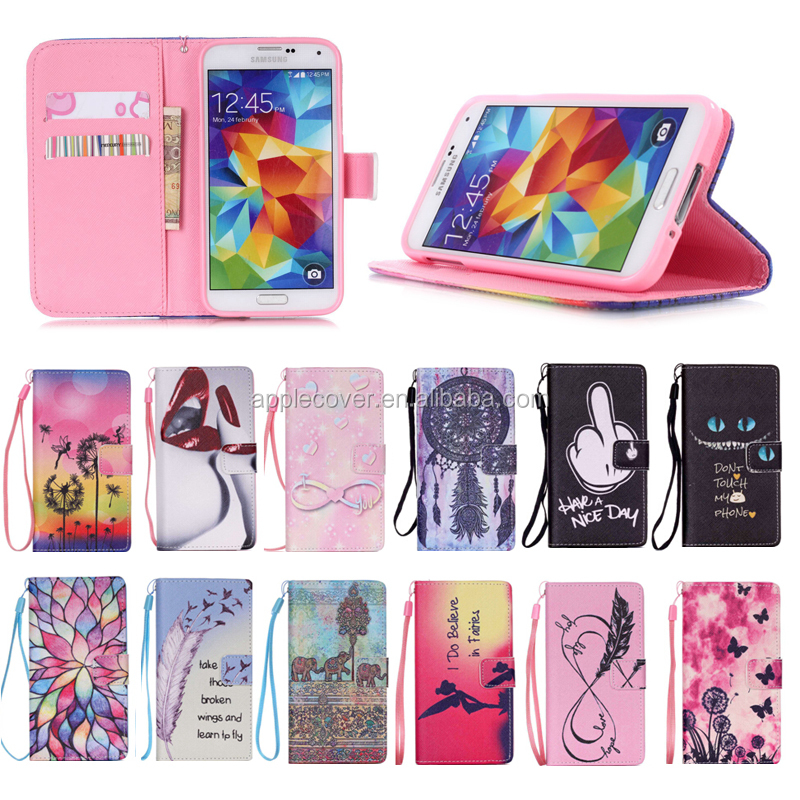 New Arrival Compatible Brand card slots wellet case for samsung Galaxy S5 , for Samsung S5 cell phone case PU leather