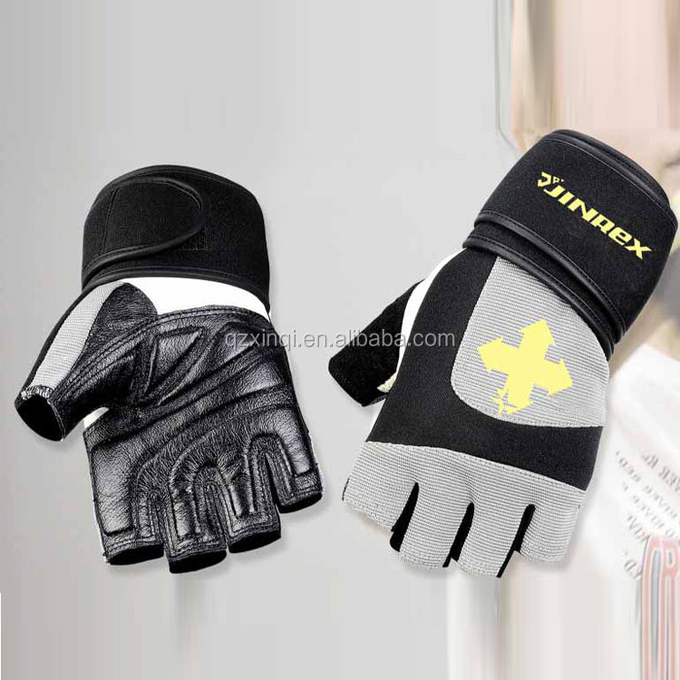 Jinrex pig skin Leather Half Finger Fitness Gym Weight Lifting workout Gloves