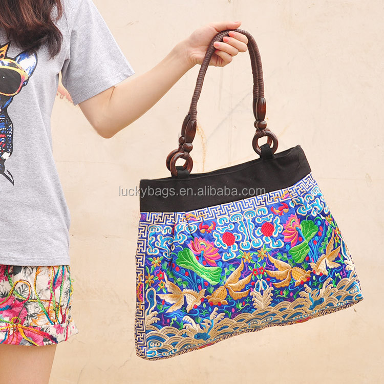 Women Embroidery Double Faced Ethnic Flower Shoulder Bag Handbag