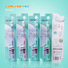Adult toothbrush with transparent handle and nylon filaments