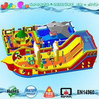 giant inflatable pirate ship playground,2 parts ocean park shark inflatable trampoline, pirate ship bouncy castle slide