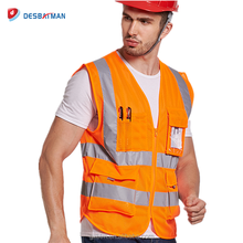 EN471/CE High Quality Work Safety Clothes 100% Polyester Hi Vis Reflective Safety Vest With Pockets
