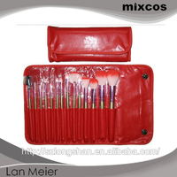 with red pvc leather bag for face make up brush set