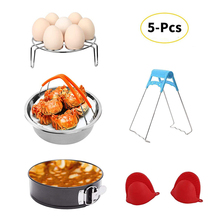 5 Pieces Accessories Set with Steamer Basket, Egg Rack, Non-stick Pan, Steaming Stand, 1 Pair Silicone Pot Mitts