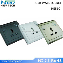 Office building/hotel widely using 10-13a ac power outlet with usb universal wall usb socket