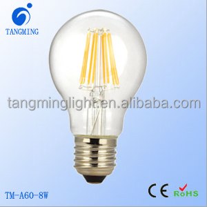 Newest product led bulb 1000lm A60 8W dimmable led filament light sapphire substrate 2 years warranty