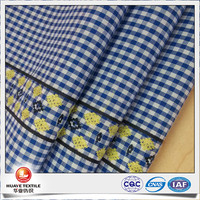 high quality yarn dyed jacquard blue and white cotton check shirt fabric