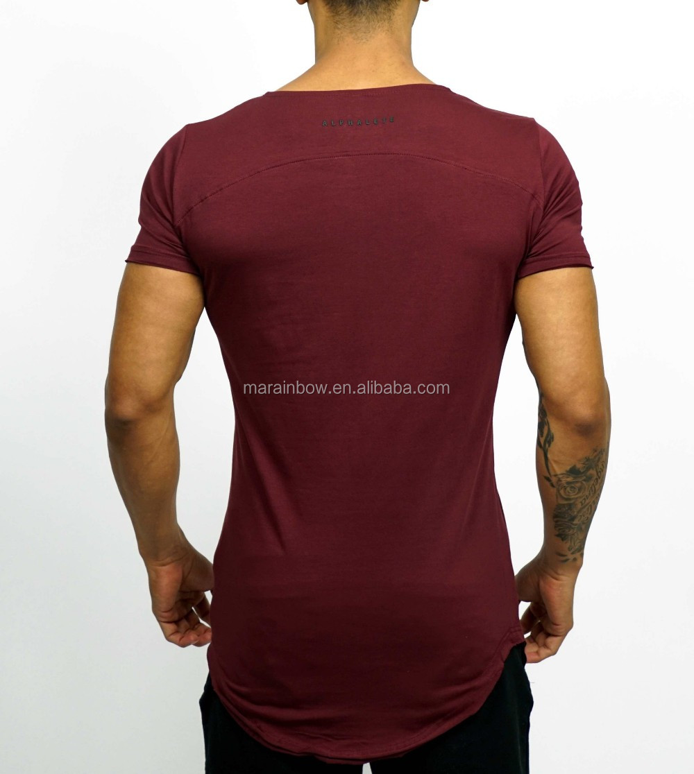 Burgundy Mens Longline Short Sleeve Curved Hem T Shirt Scoop Neck Tee Cotton Elastane Elongated T Shirt OEM