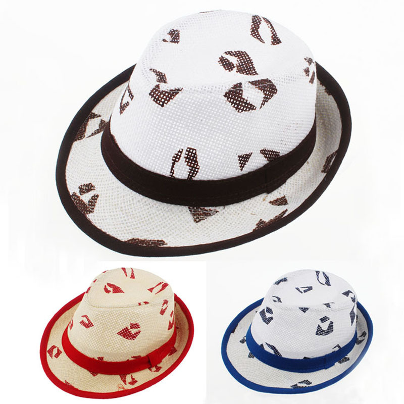 d6e9277d02f Get Quotations · Summer Fitted Baby Hat Kids Straw Fedora Hat Boys Girls  Beach Sun Cap Infant Jazz Cap