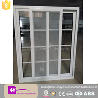 Aluminium sliding window double glass grille insert design with mosquito net LINGYIN