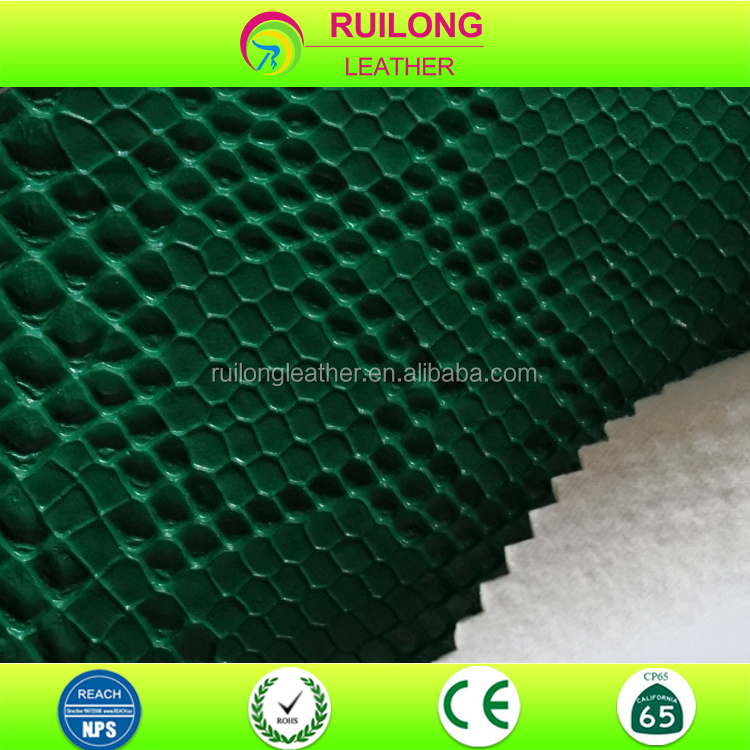 Bright snake skin quilted faux pvc leather fabric