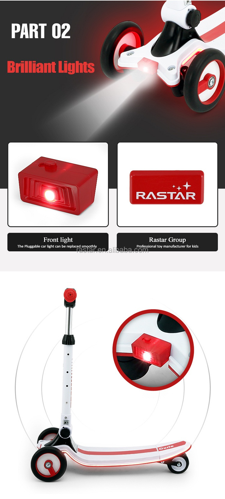 Rastar factory direct supply kids electric flash standing scooter