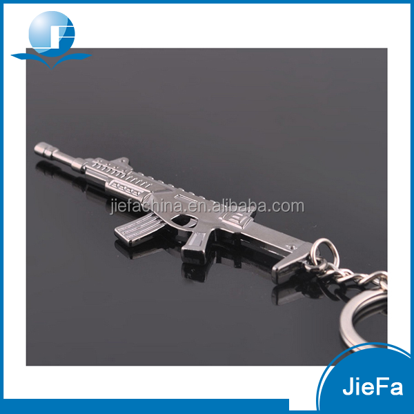 High quality promotional logo printing cheap price wholesale manufacture custom metal 3D gun keychain