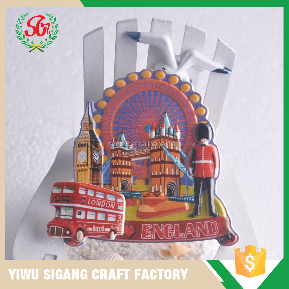China Factory Direct Sale Cheap Custom 3D Polyresin Embossed England Fridge Magnet