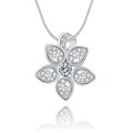 Fashion Jewelry Necklace Sliver Color Flower Pendant Necklace Pure Crystal Opal Stone Chain Necklaces Jewelry