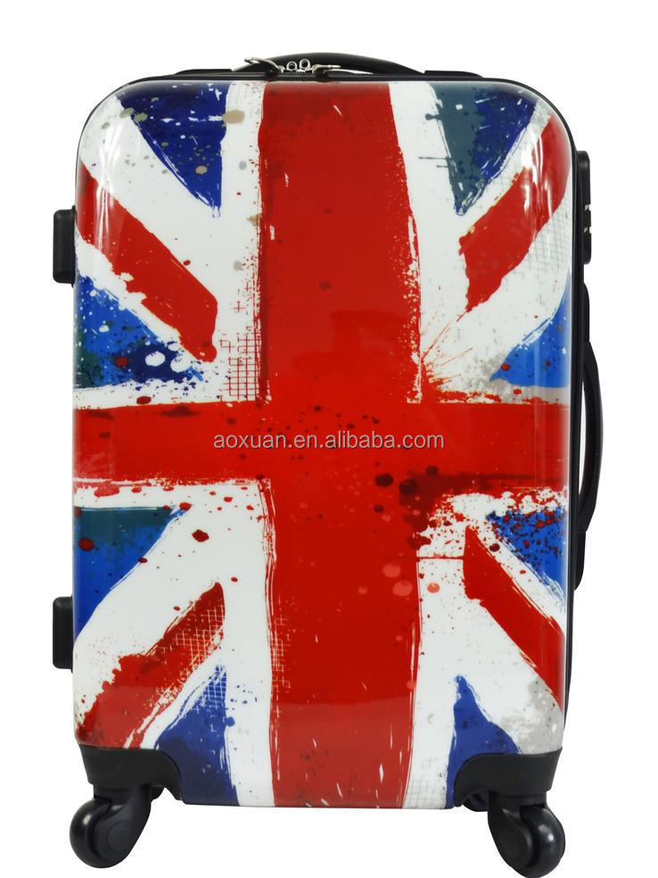union jack UK flag luggage Shanghai factory best quality ABS PC Luggage