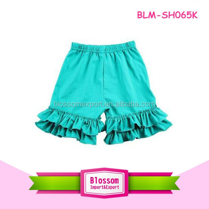 New Style Summer Solid Lavender Baby Girls Ruffle Shorts Boutique Double Ruffle Shorts For Kids