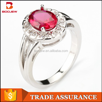 2016 New products fashion red CZ stone 925 sterling silver jewelry finger rings for women