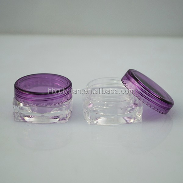 Free sample Travel Size Containers 3g 5g small PET Plastic Clear vials Jars with snap Cap