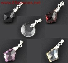 Mixed Crystal Glass Faceted Pendants W/Pinch Bail Clip 27x16mm-30x13mm, sold per packet of 10