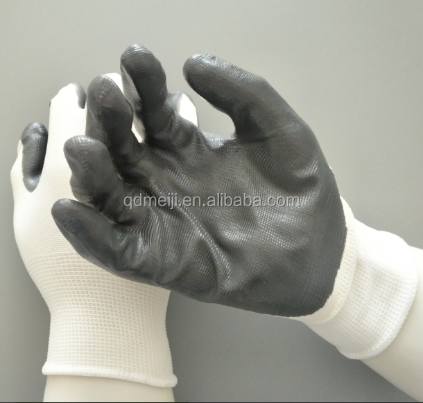 13gauge Polyester/Nylon white grey Nitrile coated working <strong>gloves</strong>