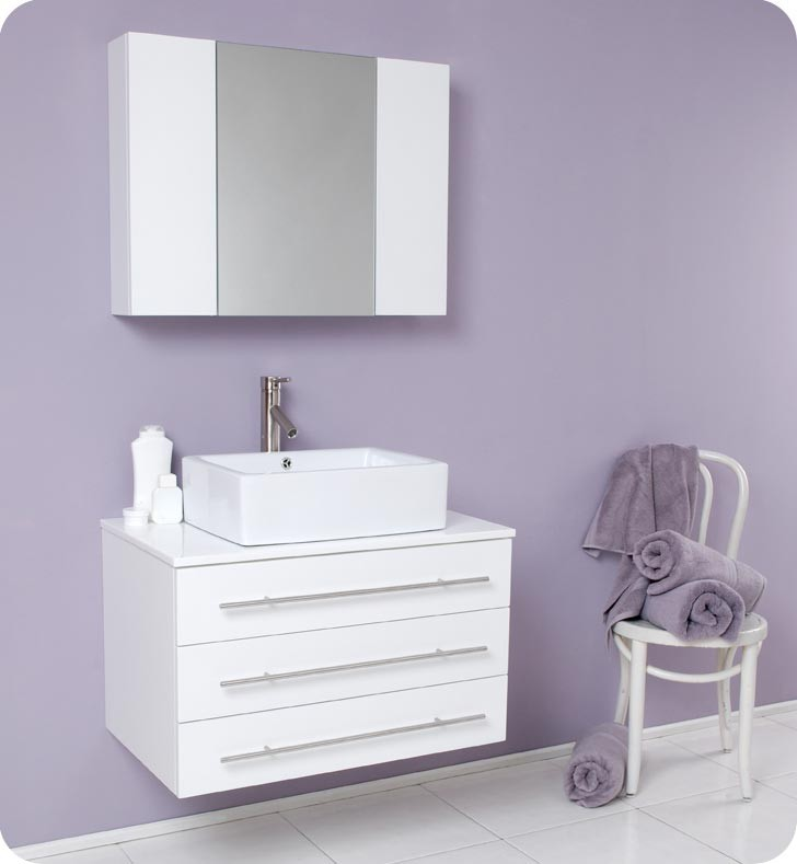 32'' hot selling white latest solid wood bathroom design