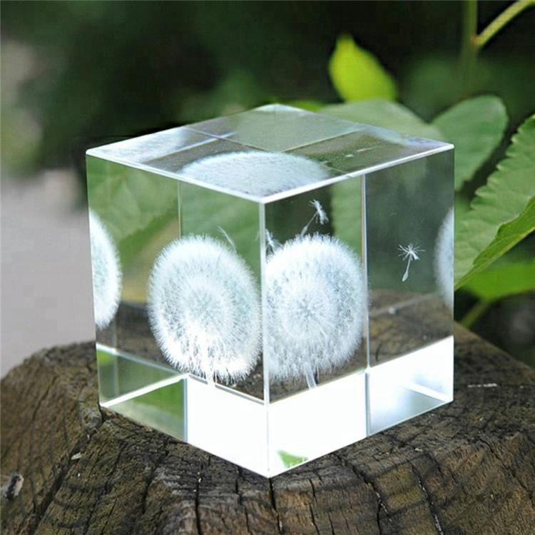 Crystal Cube Decoration Beautiful Clear 3D Glass Photo Cube Laser Engraving Print Crystal Home Decor