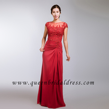 Junoesque cap sleeves applique lace beaded red chiffon evening dress