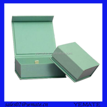 High quality book shape green paper chipboard gift box with magnet closure