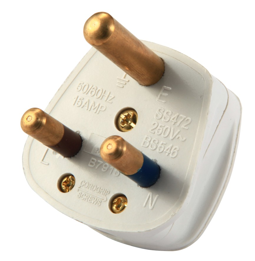 White Color South Africa Standard 3 Flat Pin Secure Electrical Plug 13A/250v