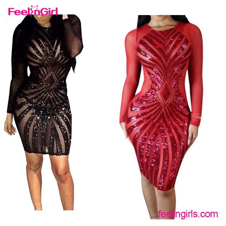 NO MOQ Red Sequins Long Sleeves African Design Sexy Indian Cheap Prom Dresses