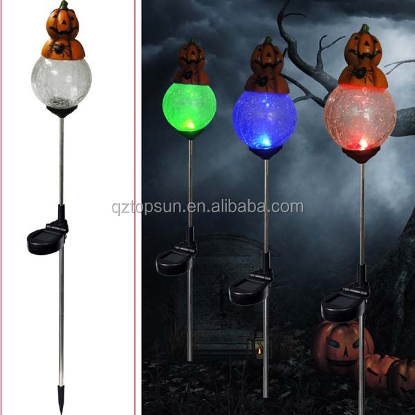 solar powered halloween ornament pumpkin with color changing crackle glass ball garden lighting