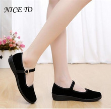 2018 Mary Janes Ladies Flats Buckle Strap Comfortable Women Shoes Round Toe Solid Casual Shoes Plus Size 34~41 Black