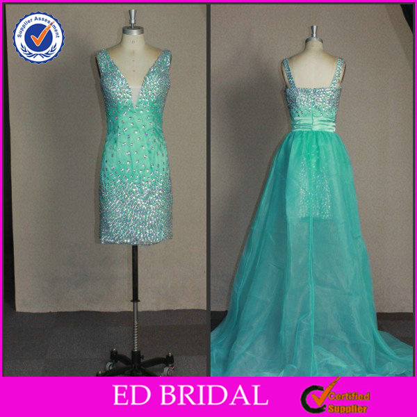 EDC012 High Quality OEM Bling Beaded with Detachable Train Real Pictures of Cocktail Dress