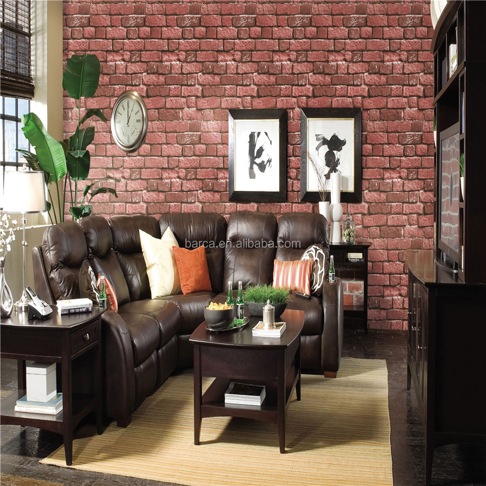3d red stone and brick design wallpaper for home deco