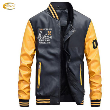 Ecoach latest design long sleeve Embroidery Fleece Lining Slim Fit Pu Leather Men Baseball Jackets
