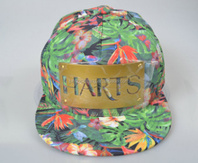 Custom gold plate snapback cap hat Hawaii floral printing snapback cap hat Double plastic buckle caps adjustable