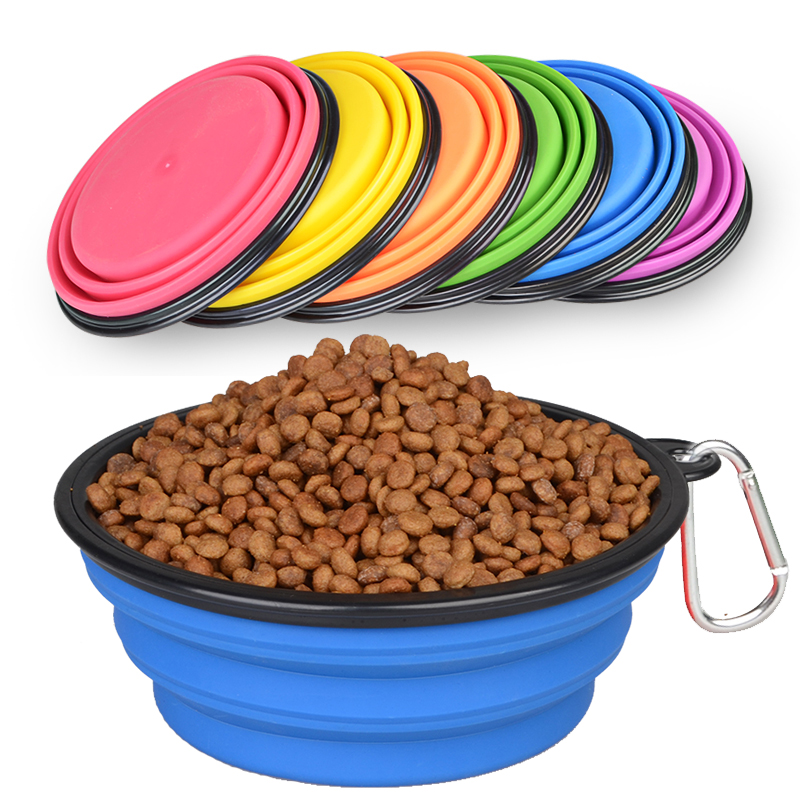 1000ml 300ml volume Eco friendly silicone Collapsible travel dog bowl