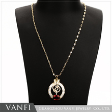 wholesale fashion cheap gold plating initial pendant ruby necklace design