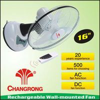 "16"" rechargeable battery operated wall mounted fans with led light"